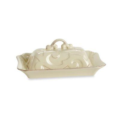 Casafine Arabesque 8.5-Inch Covered Butter Dish in Cream