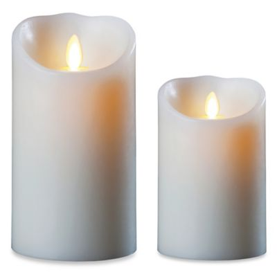 Luminara® Real-Flame Effect 7-Inch Pillar Candle in Ivory