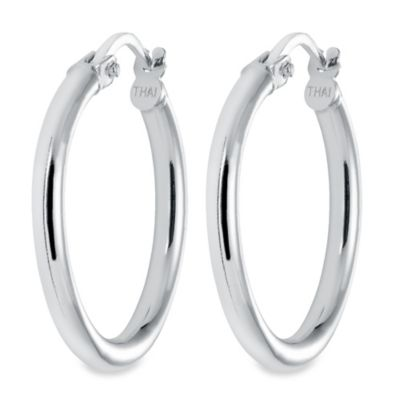 Sterling Silver 1-Inch Hoop Latch Back Earrings