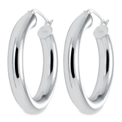Sterling Silver 1 3/8-Inch Thick Latch Back Hoop Earrings