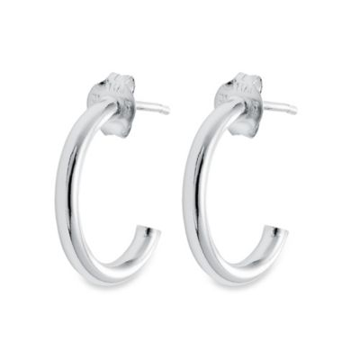 Sterling Silver 1 3/8-Inch Half-Hoop Earrings