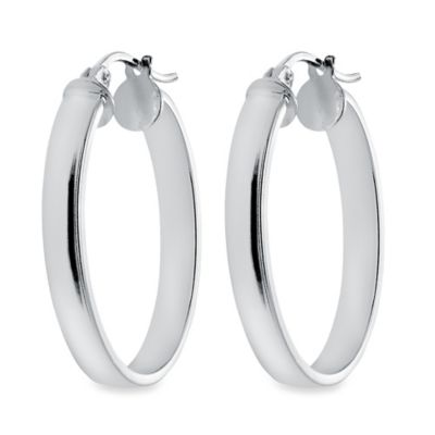 Sterling Silver 1 3/16-Inch Flat Hoop Earrings