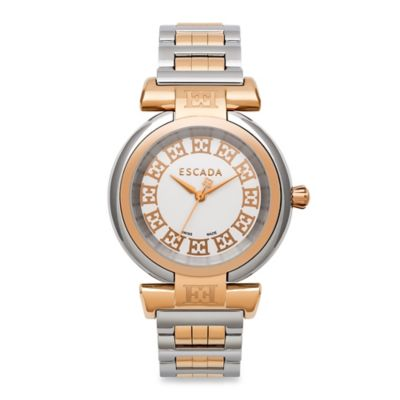 ESCADA Lauren Ladies' 34mm Two-Tone Watch in Silver and Ion-Plated Rose Gold Stainless Steel