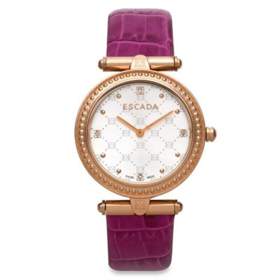 ESCADA Vanessa Ladies' 34mm Watch in Rose Gold Stainless Steel with Purple Leather Strap
