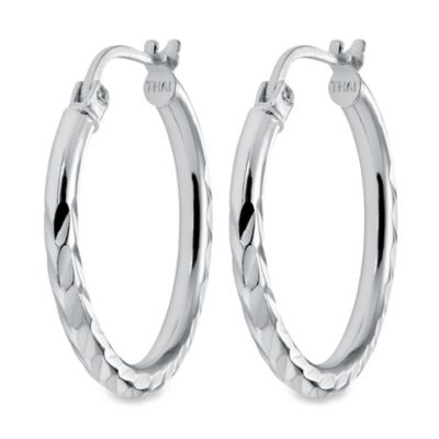 Sterling Silver 3/4-Inch Textured Hoop Earrings
