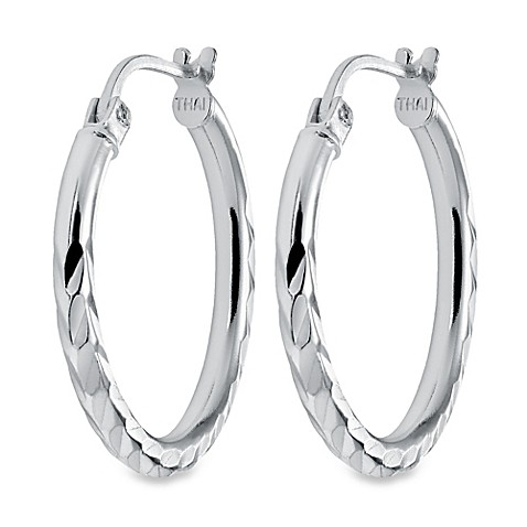 buy sterling silver 3 4 inch textured hoop earrings from