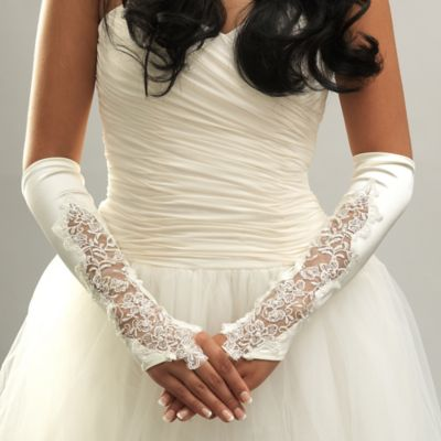 Above-the-Elbow Sheer Satin Floral Fingerless Bridal Gloves in Ivory