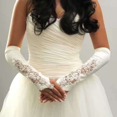 Above-the-Elbow Sheer Matte Floral Fingerless Bridal Gloves in Ivory