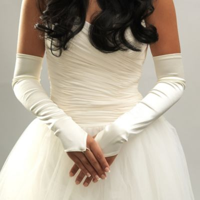 Above-the-Elbow Satin Fingerless Bridal Gloves in Ivory