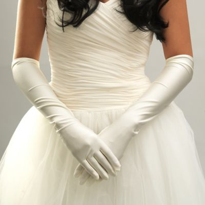 Above-the-Elbow Satin Bridal Gloves in Ivory