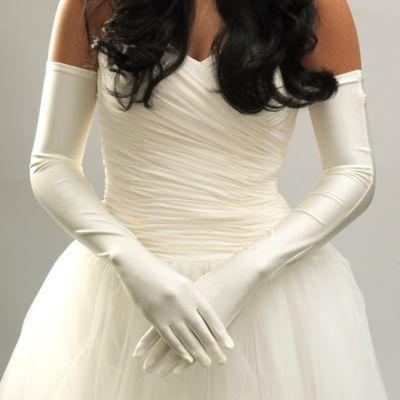 Opera-Length Satin Bridal Gloves in Ivory
