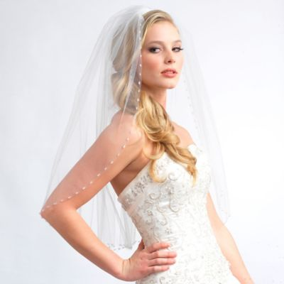 Fingertip-Length 1-Layer Swarovski Beaded Edge Bridal Veil in Ivory