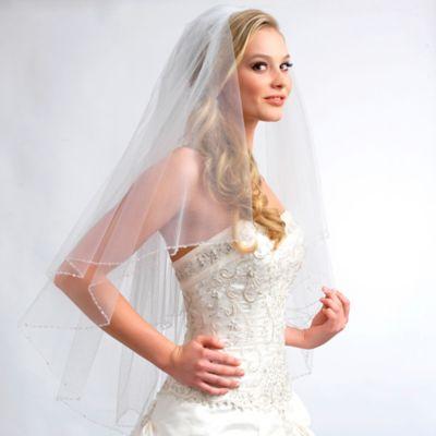 Sophie Fingertip-Length 2-Layer Swarovski Crystal Bridal Veil in Ivory