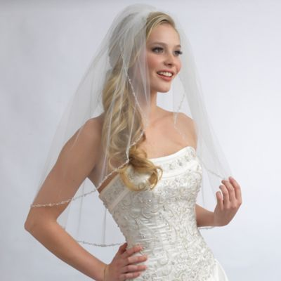 Julia Elbow-Length 1-Layer Simulated Pearl and Crystal Beaded Bridal Veil in Ivory