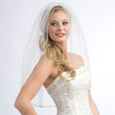 Mariah Elbow-Length 1-Layer Simulated Pearl and Crystal Beaded Edge Bridal Veil in Ivory
