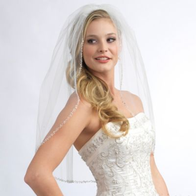 Mariah Fingertip-Length 1-Layer Simulated Pearl and Crystal Beaded Edge Bridal Veil in Ivory