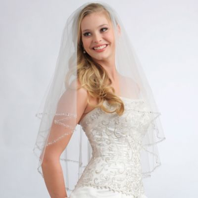 Priscilla Fingertip-Length 2-Layer Simulated Pearl Beaded Edge Bridal Veil in Ivory