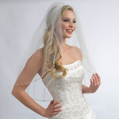 Emma Fingertip-Length 1-Layer Simulated Pearl and Crystal Beaded Bridal Veil in Ivory