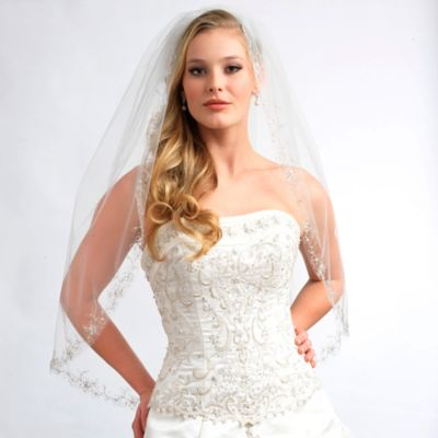Nicole Fingertip-Length Single-Layer Floral Beaded Bridal Veil in Ivory