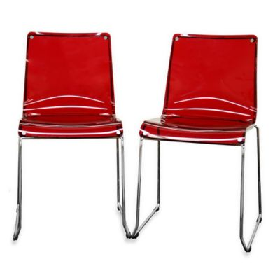 Lino Acrylic Dining Chairs in Red (Set of 2)