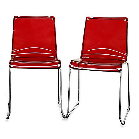 Buy Lino Acrylic Dining Chairs in Red (Set of 2) from Bed Bath ...