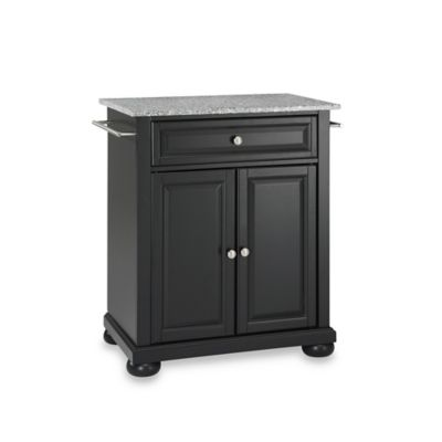 Crosley Alexandria Granite Top Portable Kitchen Island in Black