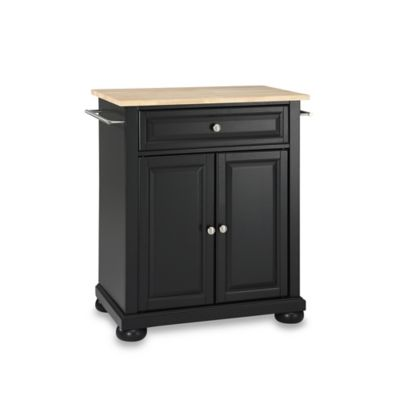 Crosley Alexandria Wood Top Portable Kitchen Island in Black