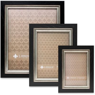 Lawrence Frames 4-Inch x 6-Inch Burnished Silver Inner Picture Frame in Black