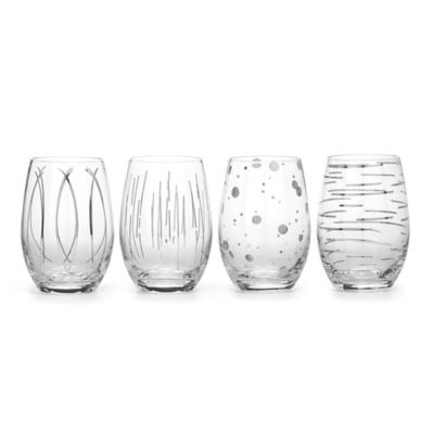 Mikasa® Cheers Metallic Platinum Stemless Glasses (Set of 4)