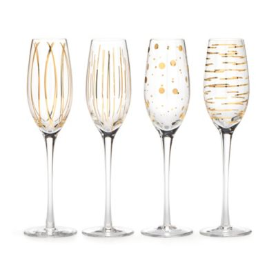 Mikasa® Cheers Metallic Gold Toasting Flutes (Set of 4)
