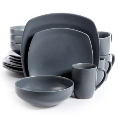 Gibson Paradiso 16-Piece Square Dinnerware Set in Grey