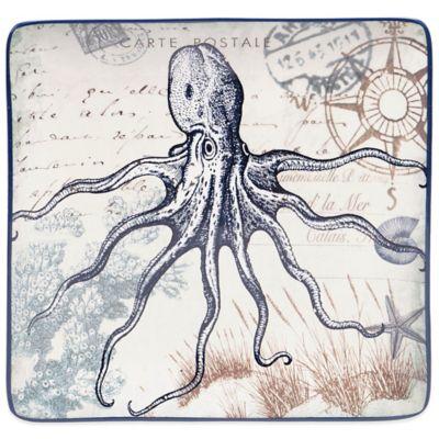 Certified International Coastal Postcards Tre Sorelle Octopus Studios Dinner Plate
