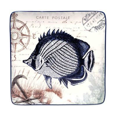 Certified International Coastal Postcards Tre Sorelle Studios Fish Dessert Plate