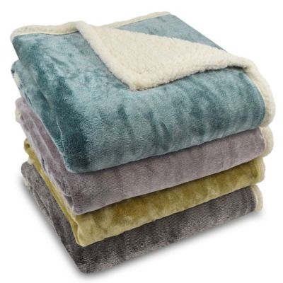 Harper Micro-Mink to Sherpa Reversible Throw in Blue