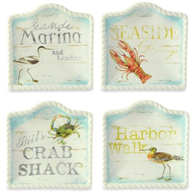 Certified International Beach Cottage by Susan Winget Crab Canape Plate
