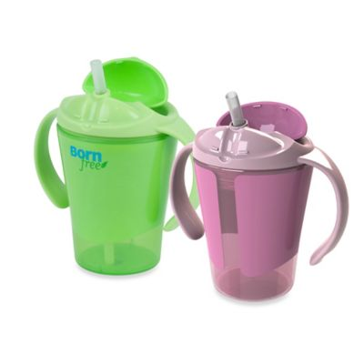 Born Free® 6 oz. Training Straw Cups in Green/Pink (Set of 2)