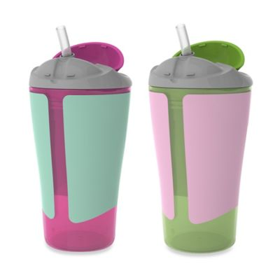 Born Free® 10 oz. Straw Cups in Pink/Green (Set of 2)