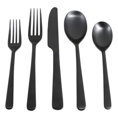 Cambridge® Silversmiths Julie Black Satin 20-Piece Flatware Set