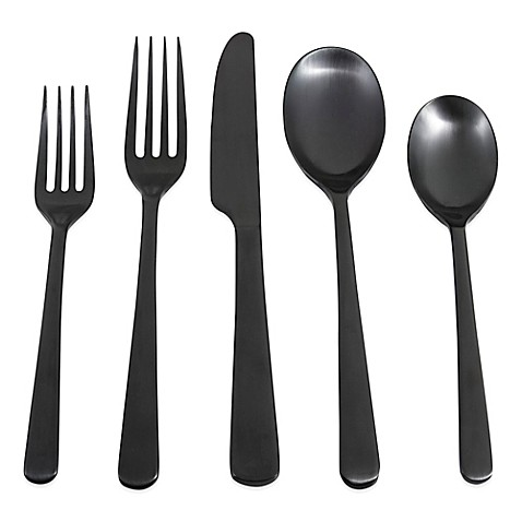 Cambridge® Silversmiths Julie Black Satin 20-Piece Flatware Set - BedBathandBeyond.com