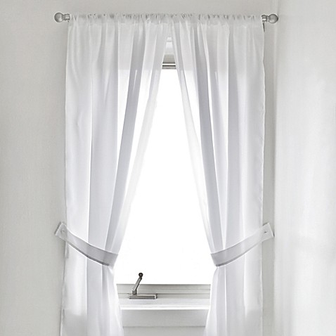 Vinyl bathroom window curtain in white bed bath beyond for Bathroom window curtains