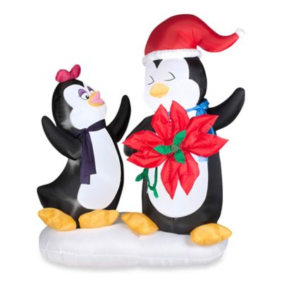 Inflatable Outdoor Animated Inflatable Penguin Couple with Poinsettia Flower