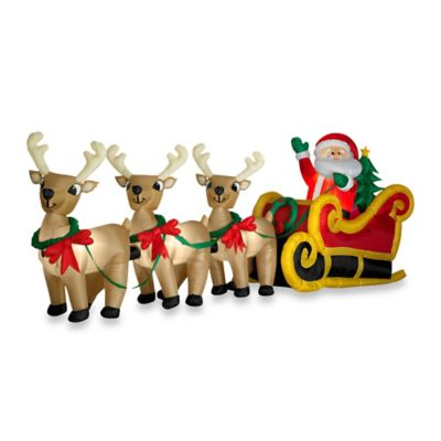 Inflatable Outdoor Santa in Sleigh with Three Reindeer