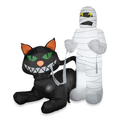 Airblown® Inflatable Outdoor Black Cat Eating Mummy