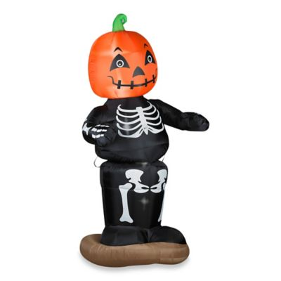 Airblown® Inflatable Outdoor Animated Dancing Pumpkin Boy Skeleton