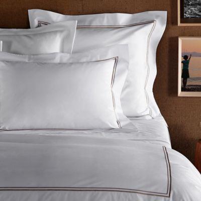 Frette At Home Piave Standard Pillowcase in White/Stone