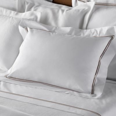 Frette At Home Piave Queen Sheet Set in White/Stone