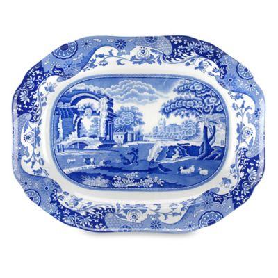 "Blue Italian 14 1/2"" Oval Platter"