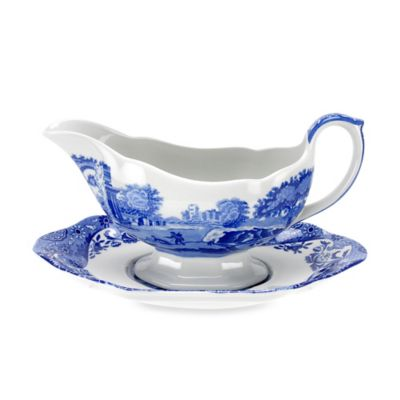 Blue Italian Gravy Boat and Stand