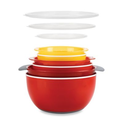 OXO Good Grips® 9-Piece Nesting Mixing Bowls and Colanders Set in Yellow/Orange/Red