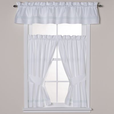 Wamsutta® Baratta Stitch Window Valance in White/Seaglass